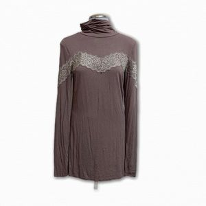 Free People Tan Classic Turtleneck Lace Blouse Top